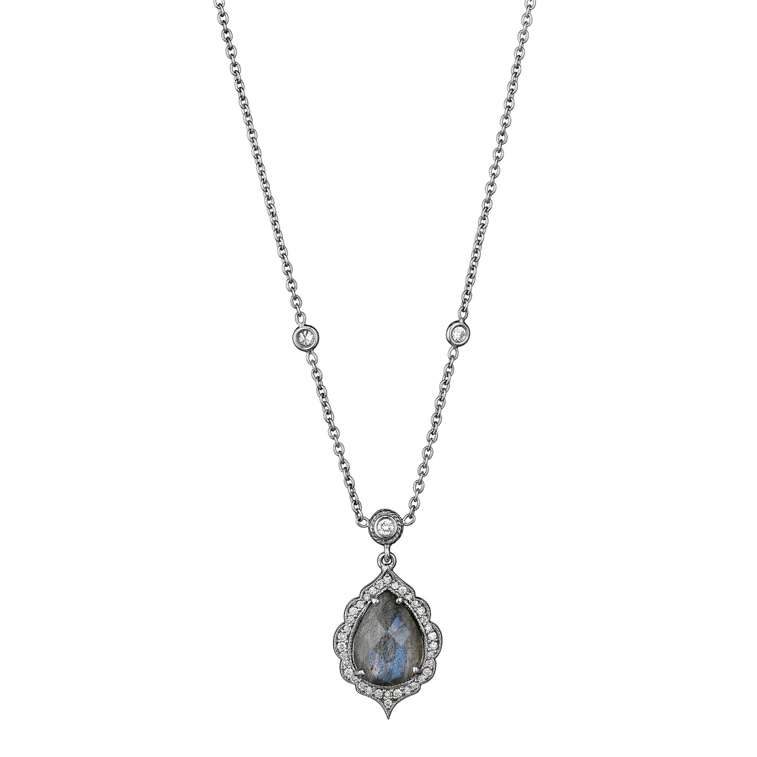 Pear Shape Labradorite Drop Necklace