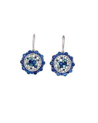 Blue Galaxy-Small Lotus Round Drop Earrings