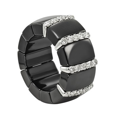 Domino Black Ceramic Ring with White Diamonds and White Gold