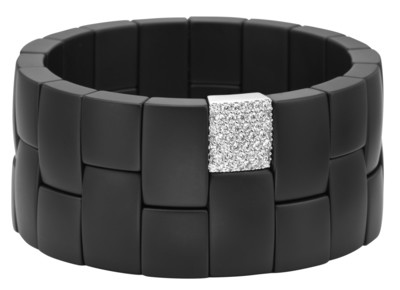 Domino 2 Row Matte Black Ceramic Bracelet with White Diamonds and White Gold