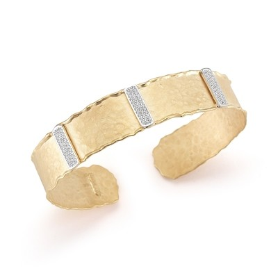 NARROW HAMMERED GOLD CUFF