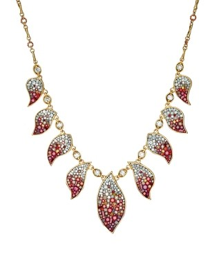 Raspberry Ombre Multi Plame Necklace