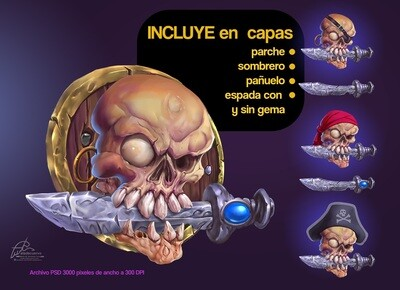 Skull pirate digital psd