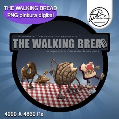 The Walking Bread ilustración estilo cartoon