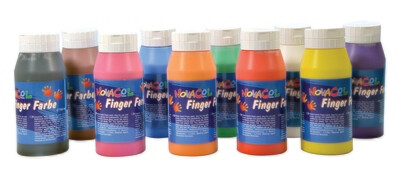 10 Fingerfarben im Set / 750 ml je Flasche