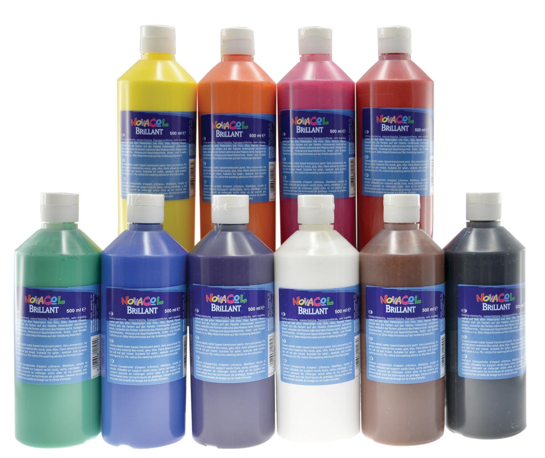 10 Brillantfarben im Set / 500 ml je Flasche
