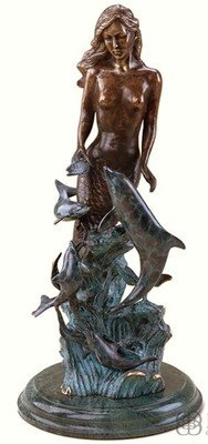 SIREN SCULPTURE-BRASS MERMAID & DOLPHINS