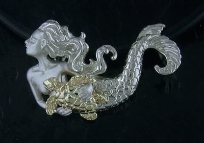 DESIGNER JEWELRY-14K GOLD AND STERLING SILVER MERMAID & SEATURTLE