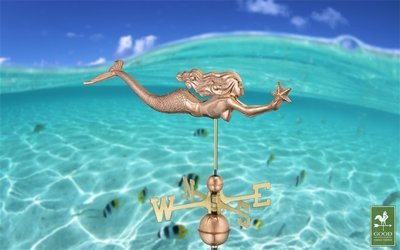 COPPER WEATHERVANE-REACHING STAR MERMAID