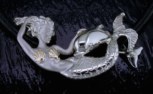 DESIGNER JEWELRY-14k GOLD AND STERLING SILVER MERMAID w/DOLPHIN NECKLACE