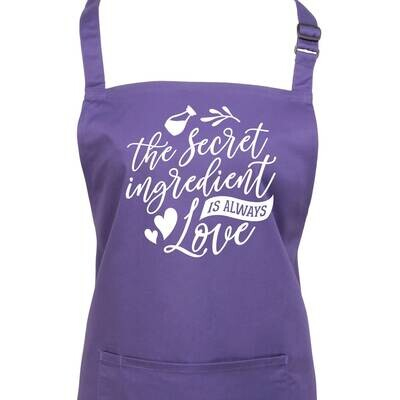 The Secret Ingredient Quote Apron. Available in 23 Colours.