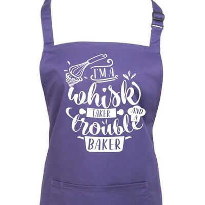 Funny Baking Apron. Whisk Taker Trouble Baker. Choice of Colours