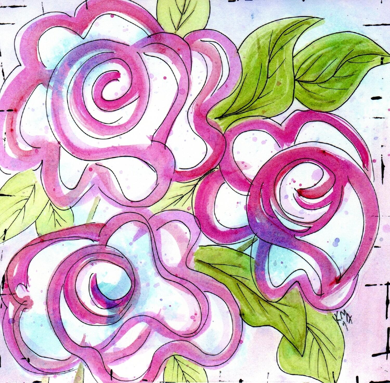 3 Roses Card