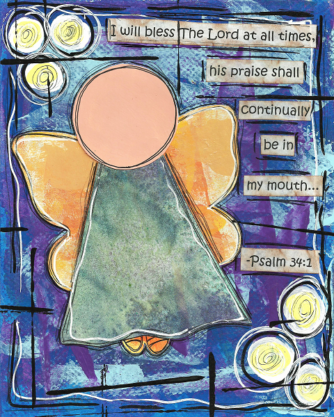 Psalm 34:1 Blank Note Card