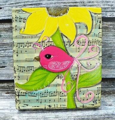 Pink Bird & Flower 2