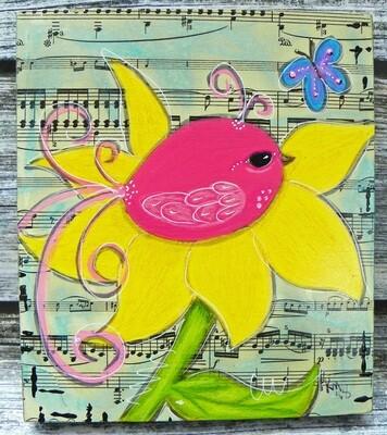 Pink Bird & Flower 1