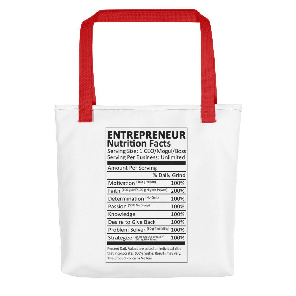 Entrepreneur Life Nutrition Facts Tote bag