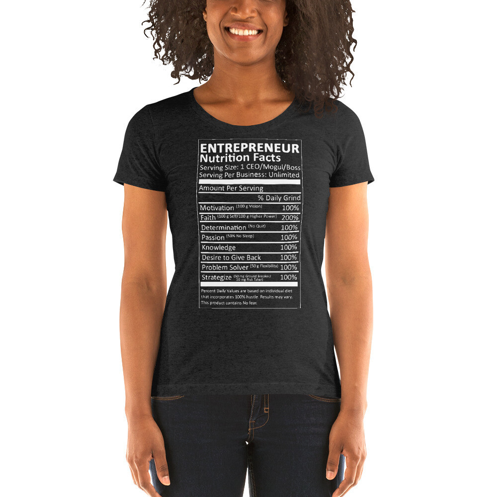 Entrepreneur Life Nutrition Facts Ladies' short sleeve t-shirt