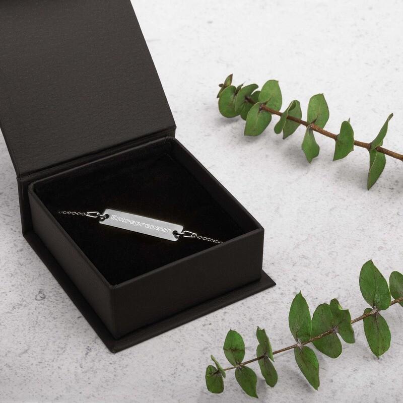 Entrepreneur Engraved Silver Bar Chain Bracelet