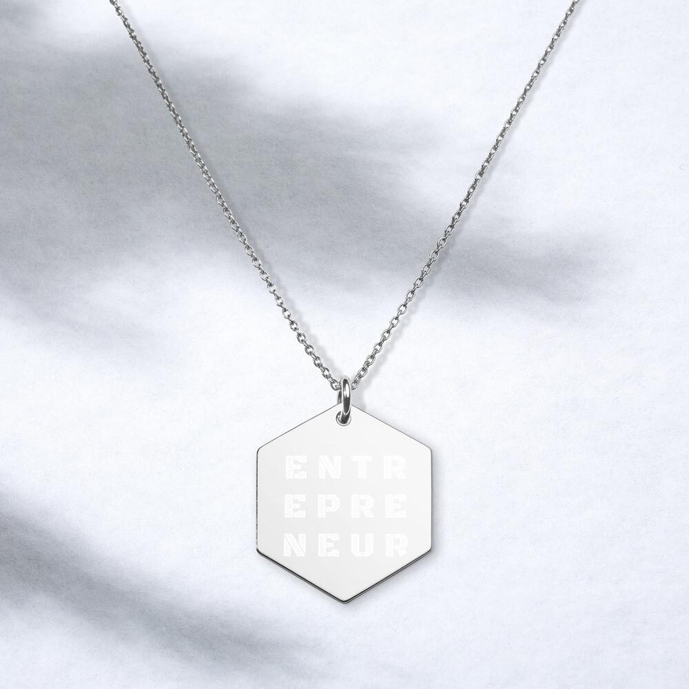 Entrepreneur Engraved Silver Hexagon Necklace