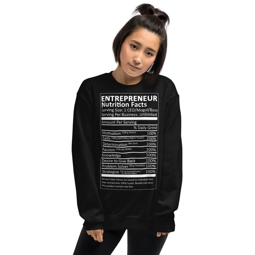 Ladies Nutrition Facts Sweatshirt