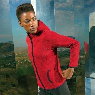 Women's melange knit fleece jacket