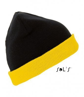 Black and Amber reversible beanie