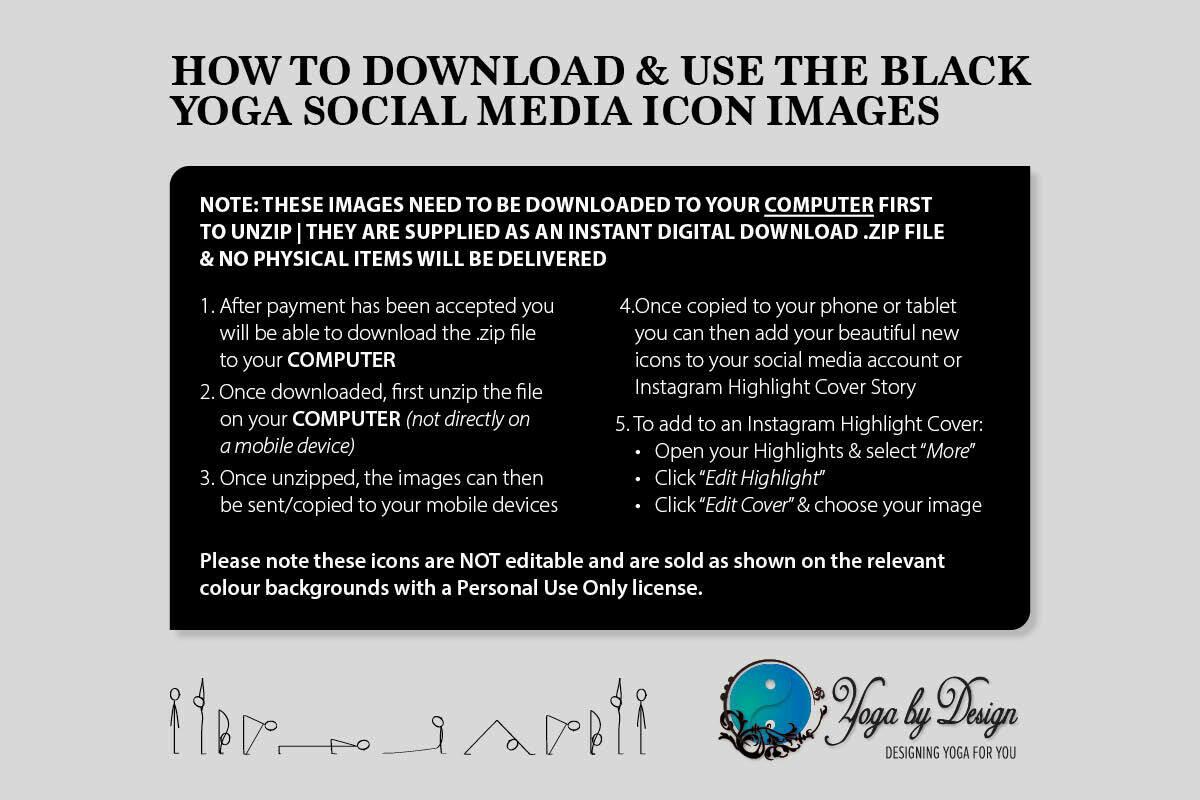 15 Yoga Instagram Highlight Cover Icons Black White