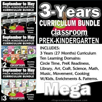 Curriculum BUNDLE 3-Years of Preschool, Pre-K, Kindergarten Lessons