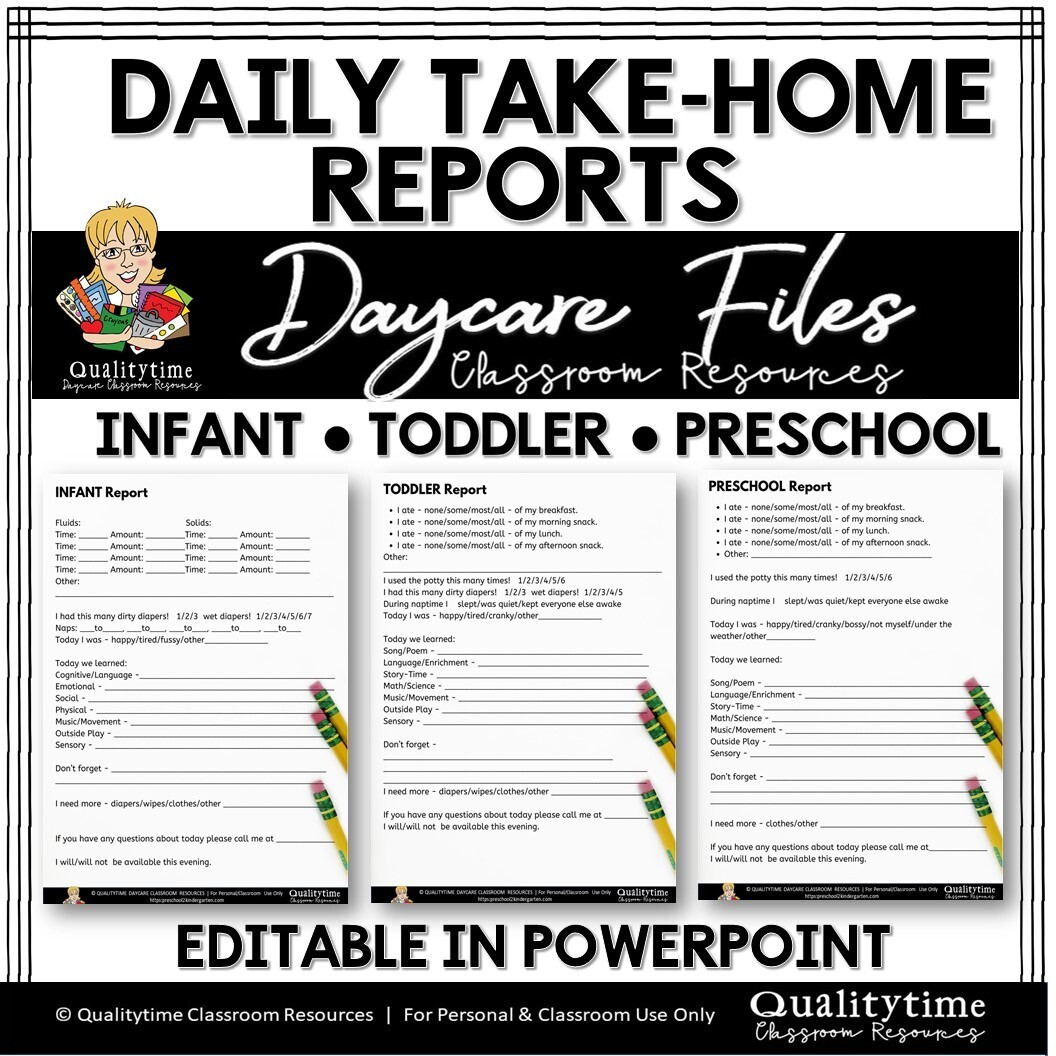 DAILY TAKE-HOME REPORTS INFANTS TODDLERS PRESCHOOL