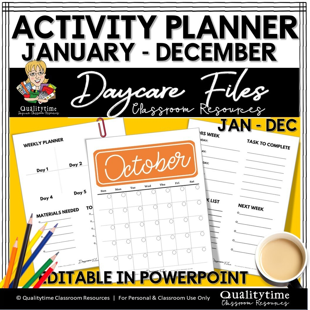 MONTHLY ACTIVIY PLANNER FORMS EDITABLE POWERPOINT