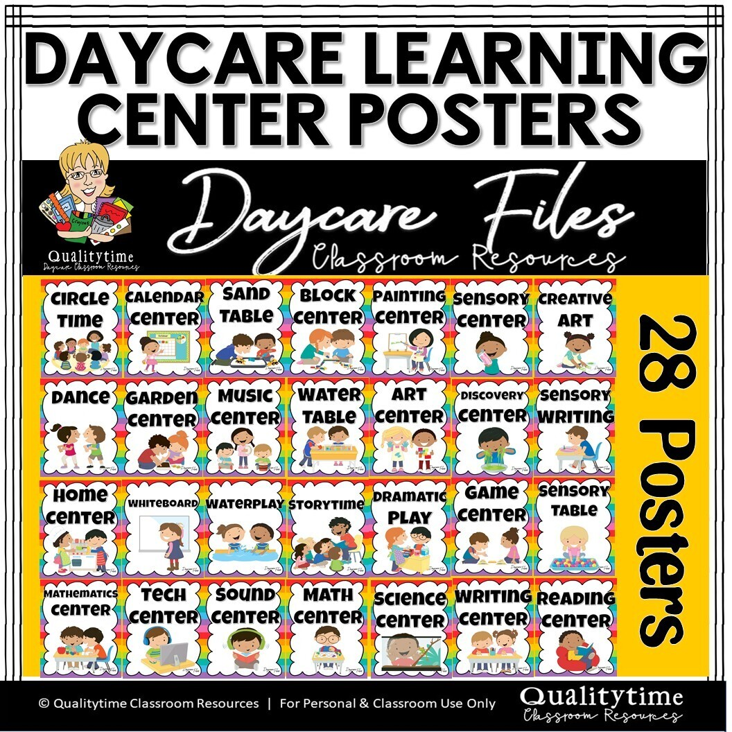 DAYCARE OR CLASSROOM LEARNING CENTER ACTIVITY POSTERS