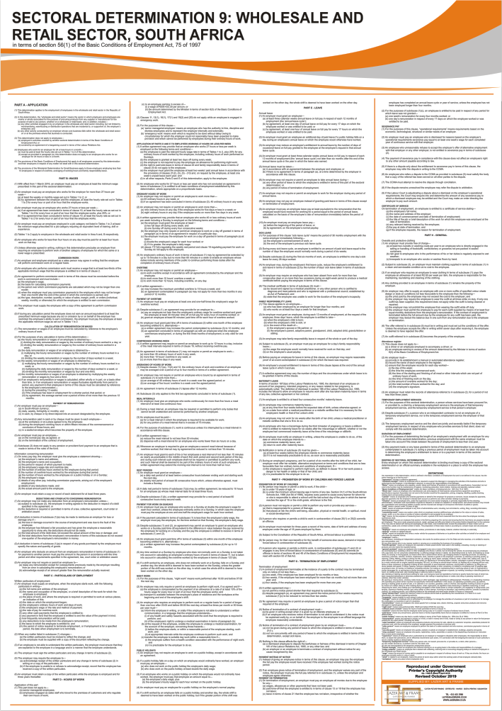 Sectoral Determination SD9- A1 Laminated Poster (2021)
