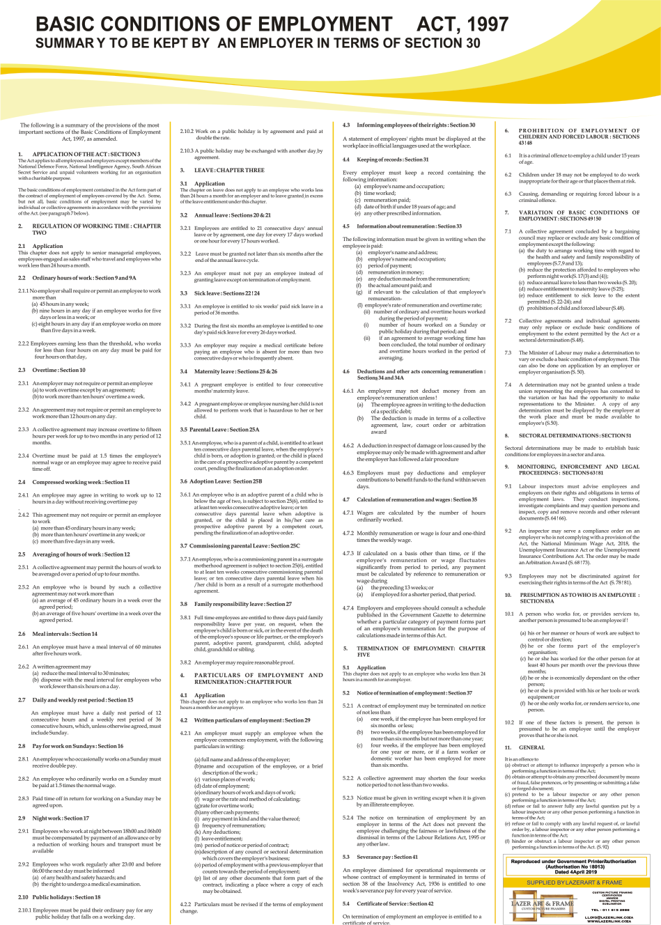 Basic Conditions of Employment Act Poster - A1 Laminated (2021) - Parental leave.