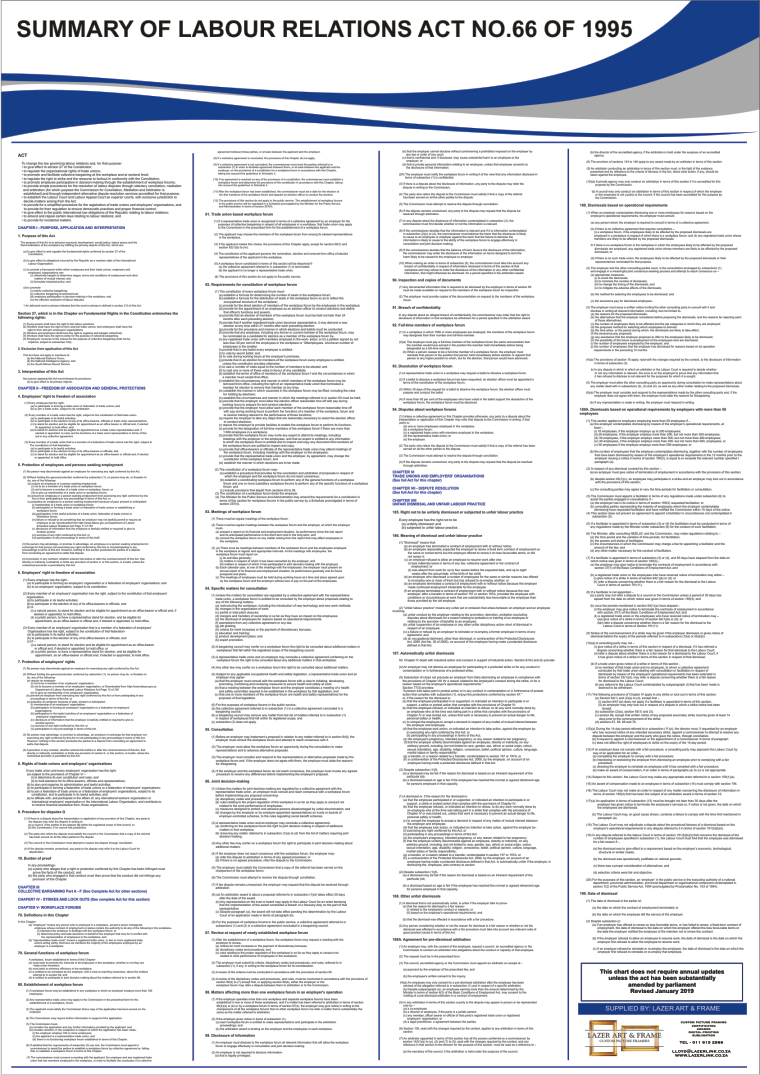 Labour Relations Act - A1 Laminated Poster (2021)