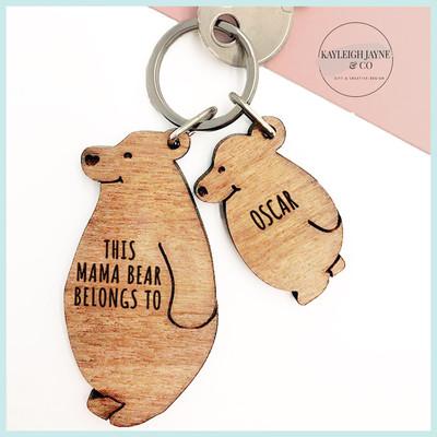 Mamma Bear & Cubs Personalised Keyring