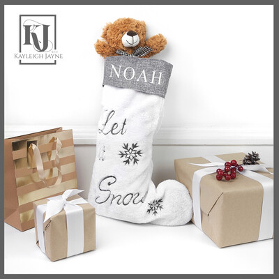 Personalised White And Grey Christmas Stocking