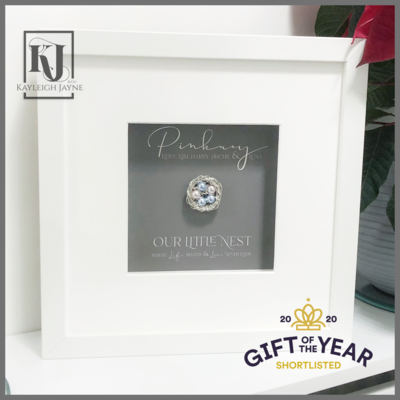 """Our little nest"" Frame fine Silver Nest In Frame - Personalised Gift with Crystal Pearls From Swarovski®️"