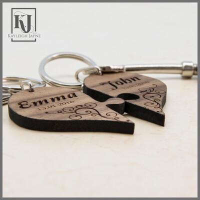 Joining Heart Walnut Wood Keyrings
