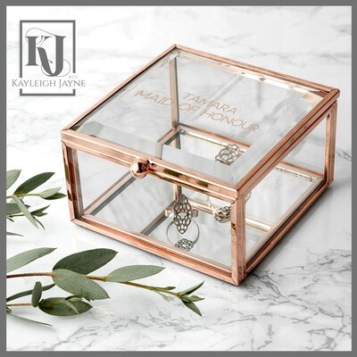 Personalised Rose Gold Plated Mini Glass Trinket Box