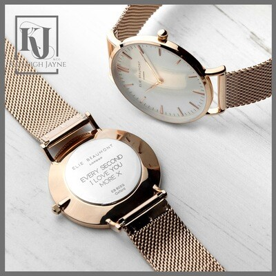 Women's Rose Gold Oxford Mesh Personalised Watch