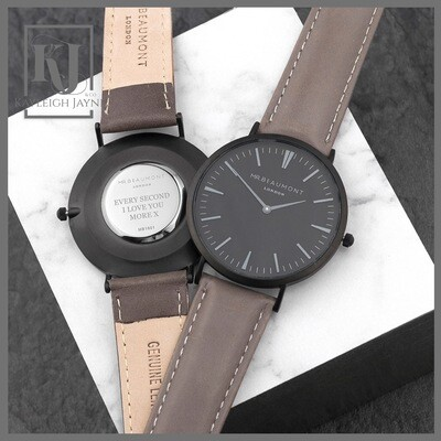 MEN'S MODERN-VINTAGE PERSONALISED WATCH WITH BLACK FACE IN ASH GENUINE LEATHER