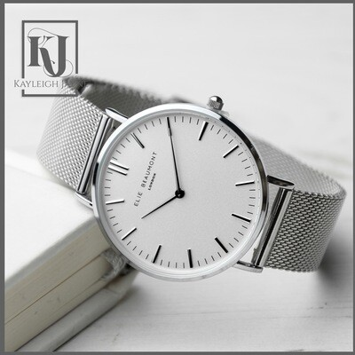 Ladies Silver Metal Mesh Watch With White Dial - Elie Beaumont