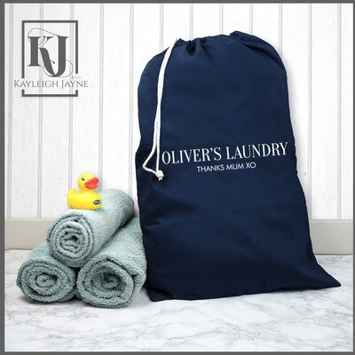 Personalised Navy Laundry Bag