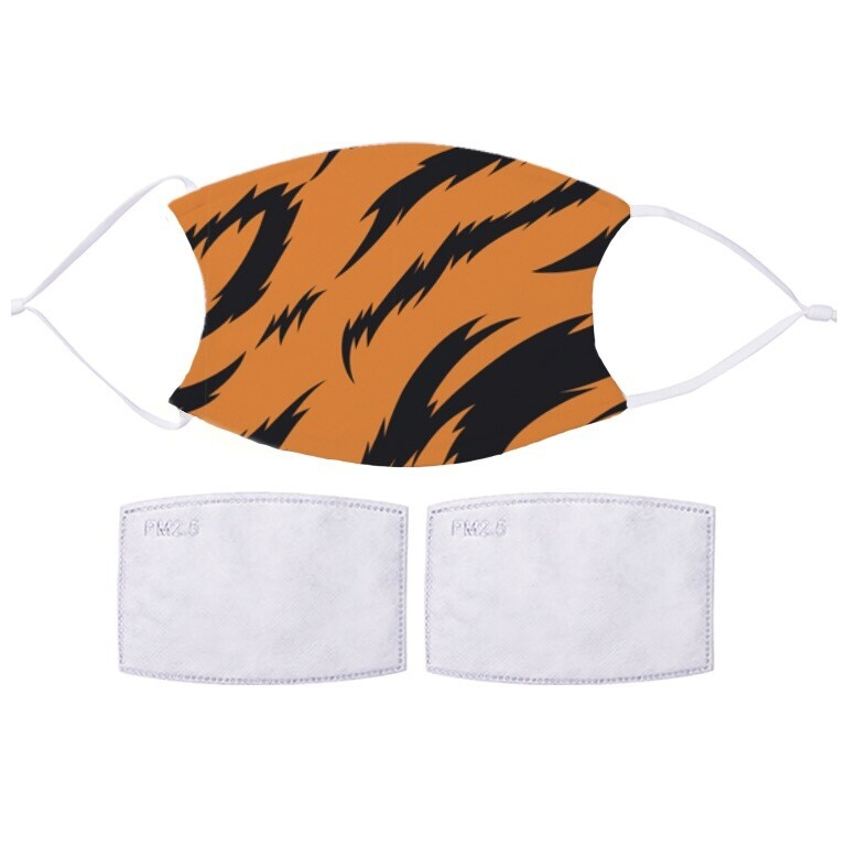 Face Covering  With 2 x PM2.5 Filters - Tiger Stripes Design