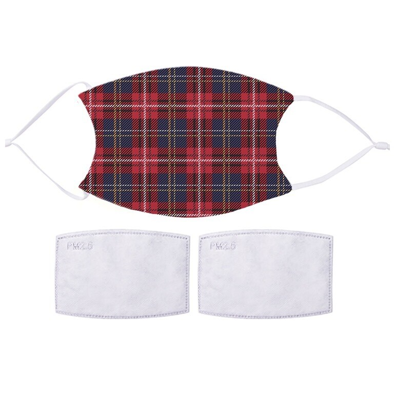 Face Covering  With 2 x PM2.5 Filters  - Tartan Design