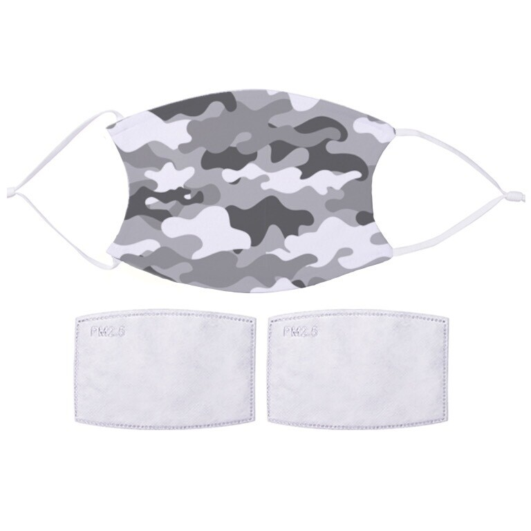 Face Mask With Filters - Grey Camo Design