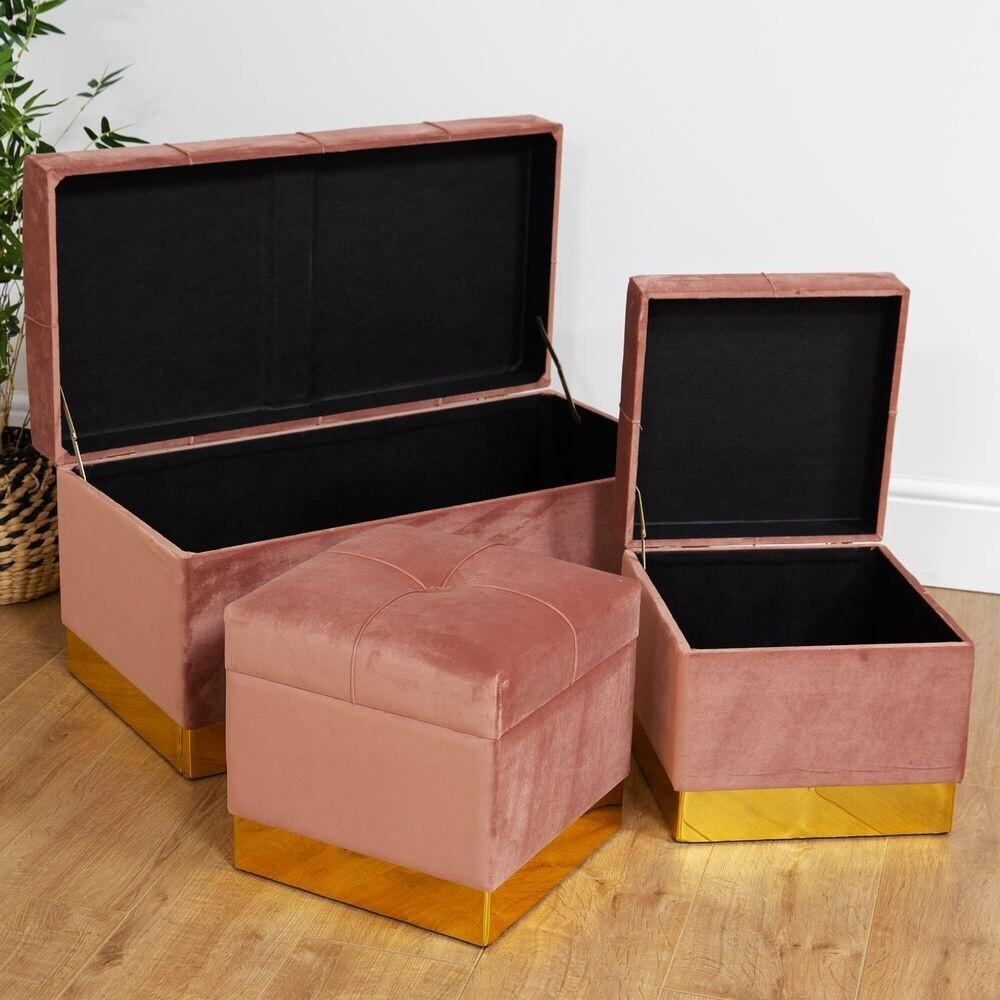 Hestia - set of 3 piece pink velvet storage foot stools