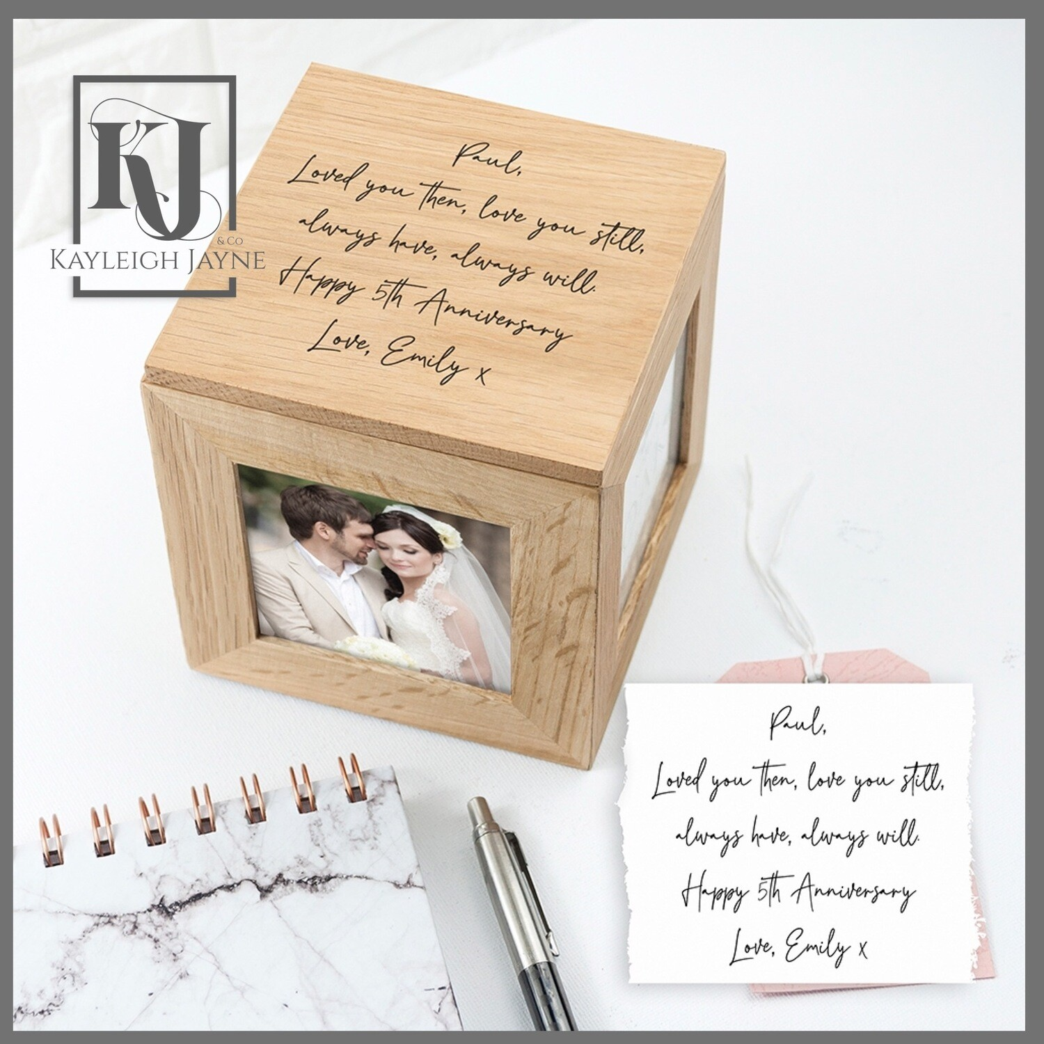 Personalised Handwriting Solid Oak Photo Cube