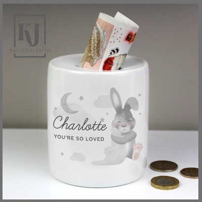 Personalised Baby Bunny Ceramic Money Box